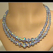 REDUCED Vintage 2-Strand Blue Crystal Necklace