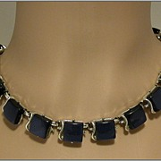 Coro Deep Blue Thermoset Square Link Necklace