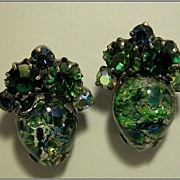 Blue Foil Art Glass Earrings with Green & Blue Rhinestones