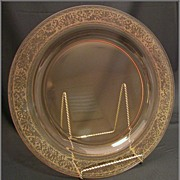 "Fostoria Glass Amber 14"" Platter in Royal, Etch 273"
