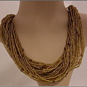 Vintage 26-strand Amber Bead Beaded Necklace