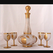 REDUCED Imperlux Czech Cased Glass Decanter & Goblets, Czechoslovakia