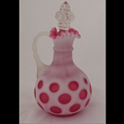 Fenton Cranberry Peach Crest Coin Dot Cruet