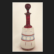 REDUCED Early 20thC Blown-Glass Cranberry & Etched Decanter