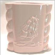 Vintage Pink Abington Vase -- Schooner, Clipper, Sailing Ship