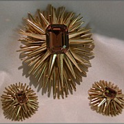 REDUCED Crown Trifari Starburst Pin & Earrings, Faux Gold Topaz