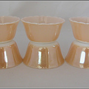 Set of 6 Fire King Peach Luster Custard Cups