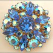 Blue & Aurora Borealis Rhinestone Pin Made in Austria