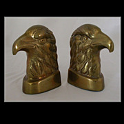 SOLD Vintage Brass Eagle Head Book Ends