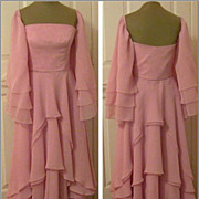 REDUCED Vintage Pink Fully Lined XS Evening Gown, Sheer Frills