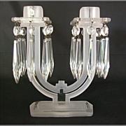 SOLD Heisey New Era Frosted Art Deco Candlestick #4044, 2 Available