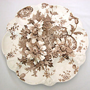 REDUCED Antique Royal Staffordshire Marguerite Oyster Plate, Brown Transferware