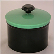 Green & Black Plastic Art Deco Vanity Dresser Box