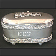 Antique Van Bergh Quad Plate Casket, Trinket Box. ELK Monogram