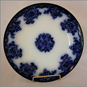 New Wharf Pottery 10 Waldorf Flow Blue Dinner Plate, c1880, Burslem