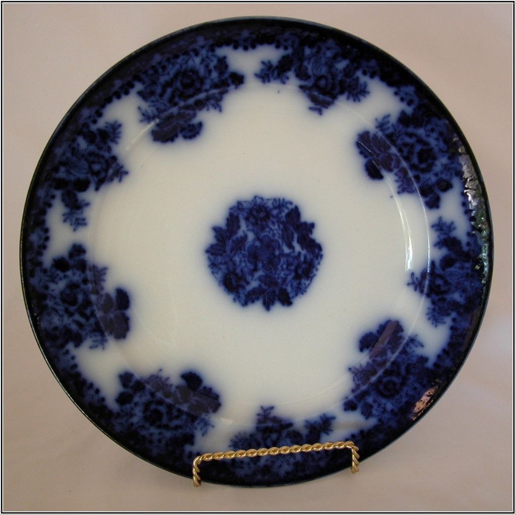 "New Wharf Pottery 10"" Waldorf Flow Blue Dinner Plate, c1880, Burslem"