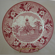 REDUCED Vicksburg Hardware Advertising Red Transferware Plate, Warren County Court House, ...