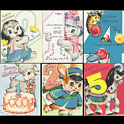 SOLD 8 Vintage Child�s Gibson-Norwalk Birthday Cards for Ages 1-6