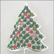 Kramer of New York Rhinestone Christmas Tree Pin