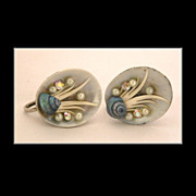 Natural Shell, Faux Pearl & Rhinestone Screw-On Earrings