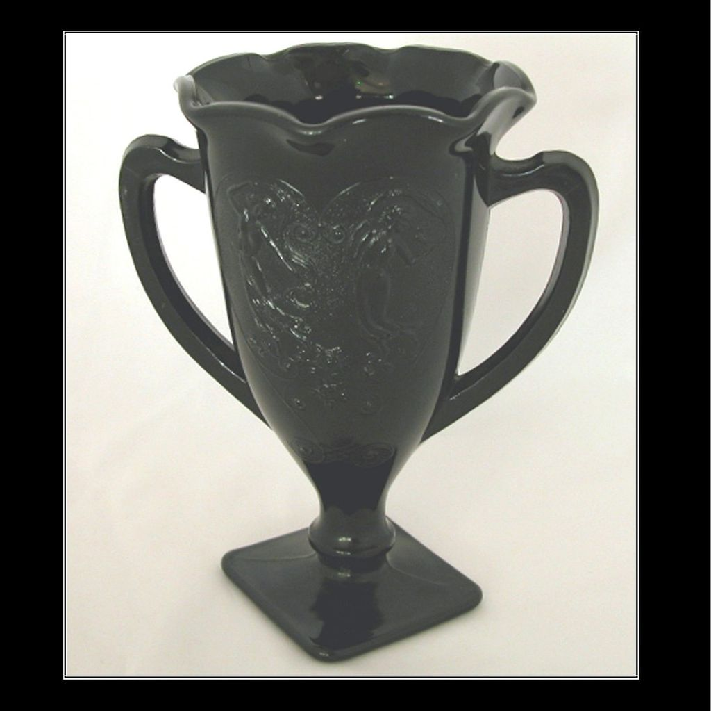 L E Smith Black Amethyst Dancing Nymphs Vase Trophy Cup Loving Cup