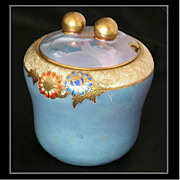 Hand-Painted c1910s Noritake Blue Luster Mustard Jar