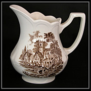 Meakin Royal Staffordshire Brown Transferware Pitcher �Stratford Stage�