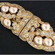 Coro Art Deco Faux Pearl & Rhinestone Duette Pin,  Dress Clips