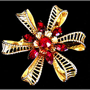 Vintage Flower, Ribbon & Bow Red Rhinestone Pin
