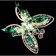 Vintage Two-Tone Green Rhinestone Butterfly Pin
