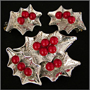 Dodd Silver-Tone Christmas Holly Pin & Earrings
