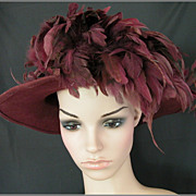 Vintage Burgundy Feather & Flower Wide-Brim Felt Hat