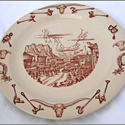 Wallace China 10  El Rancho Dinner Plate  Western Town Pattern