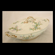 Limoges Blue & Pink Floral Covered Vegetable Bowl