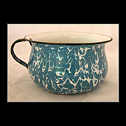 Blue Swirl Graniteware Chamber Pot