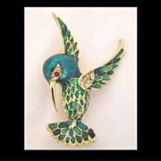 SALE Sphinx Enamel & Crystal Rhinestone Hummingbird Pin