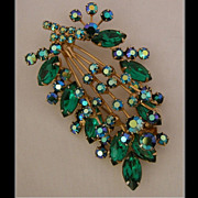 Emerald Green and Aurora Borealis Rhinestone Pin