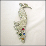 Art Deco Rhinestone Bird of Paradise Pin c1930 Book Piece