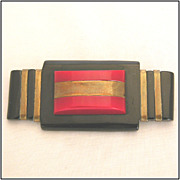 Art Deco Black & Red Bakelite & Brass Pin