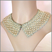 Vintage Woven Gold-Braid & Faux Pearl Collar