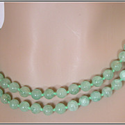 REDUCED Vintage 30� Green Jade Beaded Necklace