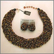 REDUCED Bohemian Glass Bead Necklace & Earrings, Earth Tones of Gold, Copper & Black