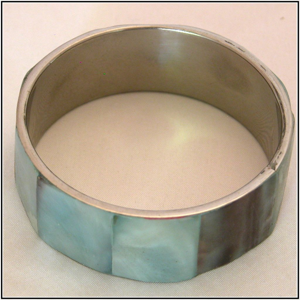 Blue & Silver-Tone MOP Mother of Pearl Bangle Bracelet