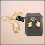 Whiting & Davis Oval Faux Mabe Pearl Pendant Necklace & Earrings, Original Tags