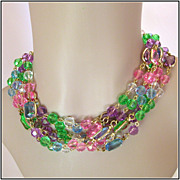 Pastel Jewel-Tone Lucite Bezel Set & Beaded 91 Necklace