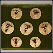 Set of 7 Gold-Tone Caduceus Medical Symbol Buttons