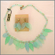 Blue Lucite Beaded Necklace & Earrings with Delicate Leaf Accents