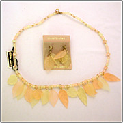 Yellow Lucite Beaded Necklace & Earrings with Delicate Leaf Accents