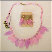 Pink Lucite Beaded Necklace & Earrings with Delicate Leaf Accents