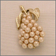 Faux Pearl & Gold-Tone Pear-Shaped Pin